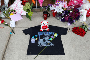 A memorial in memory of singer Aretha Franklin is seen outside New Bethel Baptist Church in Detroit,