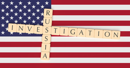USA Politics Concept: Letter Tiles Russia Investigation On US Flag, 3d illustration