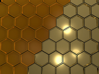 image honeycombs in the form of gold hexagons, 3d rendering
