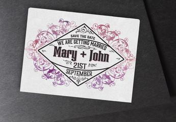 Wedding invitation Layout with Ornamentation