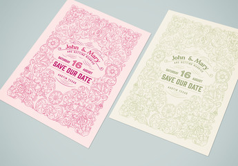 Wedding invitation Layout with Ornamentation