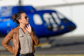 woman and helicopter