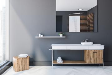 Gray Scandinavian style bathroom interior, sink
