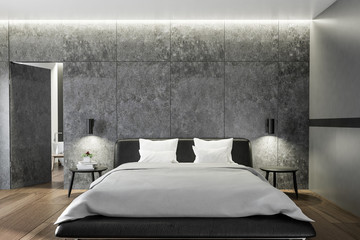 Bedroom interior with concrete walls