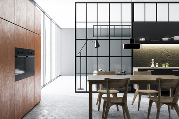 Black kitchen and dining room interior