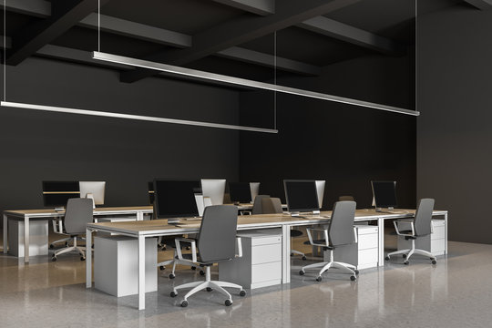 Corner of gray Industrial style office