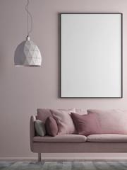 Mock up poster on minimalism wall, Hipster background, 3d render, 3d illustration