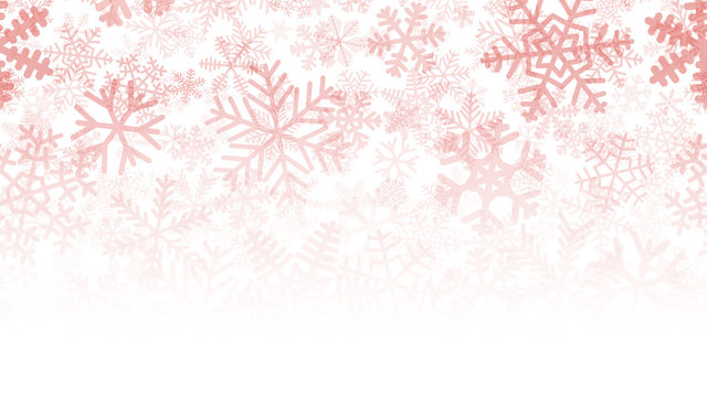 Christmas background of many layers of snowflakes of different shapes, sizes and transparency. Gradient from red to white