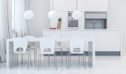 Modern dining room with kitchen in background