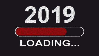 Jahreswechsel 2019 - Ladebalken Rot - Vektor Illustration - Freigestellt Auf Schwarzem Hintergrund