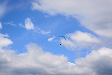 View of a paraglider in the sky