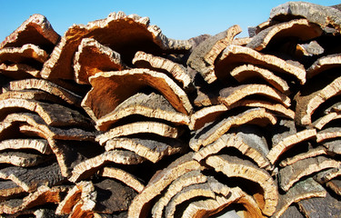 Pile of harvested cork from cork oak trees in south of Portugal