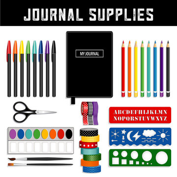 Journal supplies, decorative Washi tapes, fine liner pens, watercolors and brushes, scissors, templates and stencils to sketch and draw art and graphics.
