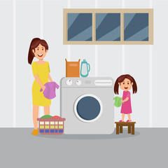 mom and daughter wash together