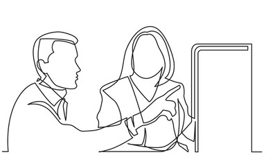 continuous line drawing of two office workers discussing showing on display