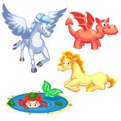 Set of cartoon vector fantasy creatures dragon, mermaid, unicorn, pegasus