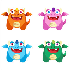 Cute cartoon smiling dragon character with wings and a tail in different colors