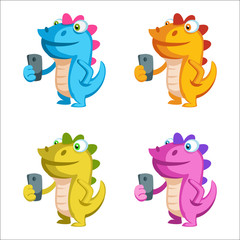 Cute cartoon dragon character holding a phone in different colors