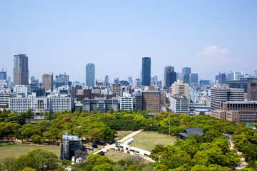 The view from Osaka Castle in Japan.