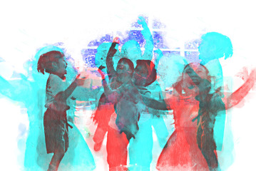 Abstract Children are playing with balloons on watercolor painting background.