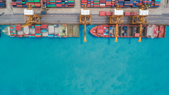 Aerial view container ship from sea port for import  export or transportation concept background.