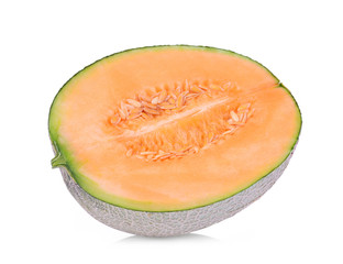 half sliced japanese melon, orange melon or cantaloupe melon isolated on white background