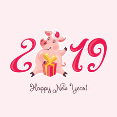 2019 Year of the Pig greeting card