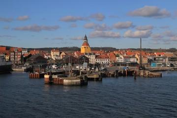 Door stickers Port malerische Hafen von Faaborg auf der dänischen Ostsee Insel Fünen