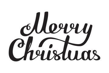 Merry Christmas hand made lettering black white