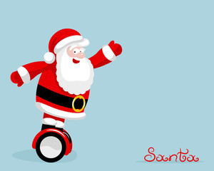 Modern Santa rides on electro board Christmas concept template