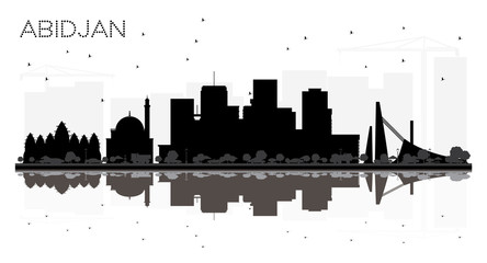 Abidjan Ivory Coast City Skyline Silhouette with Black Buildings Isolated on White.