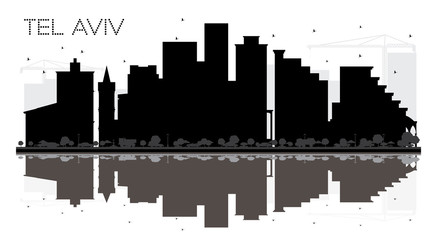 Tel Aviv Israel City skyline black and white silhouette with Reflections.