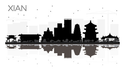 Xian China City skyline black and white silhouette with Reflections.