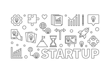 Startup vector horizontal illustration or banner in line style