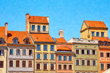 Painting on canvas of the bright facades of historic buildings on the market square in Warsaw, Poland