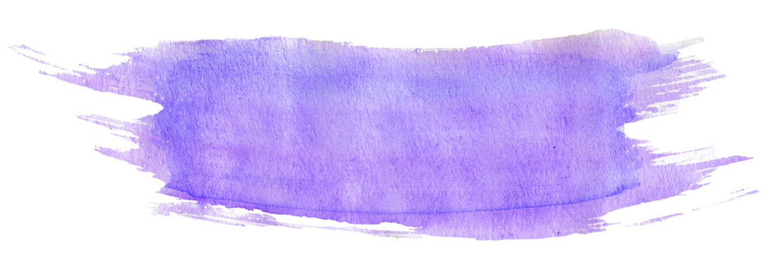 Light violet watercolor stroke with brush's texture, hand-painted illustration