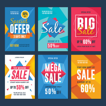 Collection of sale and discount flyers. Vector illustration for social media banners, flyer, poster and newsletter designs