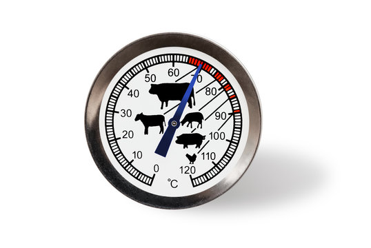 Meat thermometer isolated on a white background with shadow.