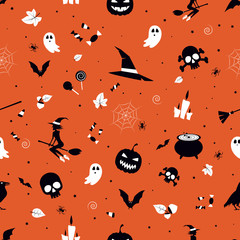 Happy halloween. Seamless pattern for print. Vector illustration