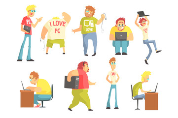Professional Programmers Funny Characters Set Of Graphic Design Cool Geometric Style Isolated