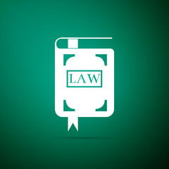 Law book icon isolated on green background. Legal judge book. Judgment concept. Flat design. Vector Illustration