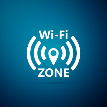 Wi-Fi network icon isolated on blue background. Flat design. Vector Illustration