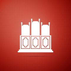 Court's room with table icon isolated on red background. Chairs icon. Flat design. Vector Illustration