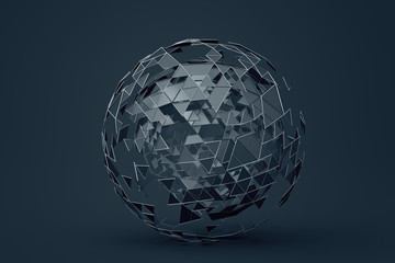 Abstract 3d rendering of polygonal sphere. Geometric shape, futuristic modern background design for poster, cover, branding, banner, placard.
