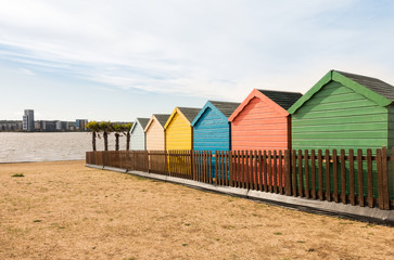Colorful Beach Huts in Cardiff Bay