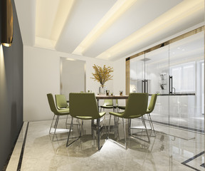 3d rendering beautiful modern kitchen with dining zone