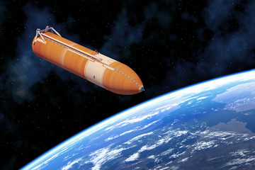 Fotomurales - Space Shuttle External Tank Above Planet Earth