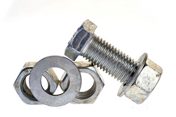 Bolt and nut, isolated on a white background