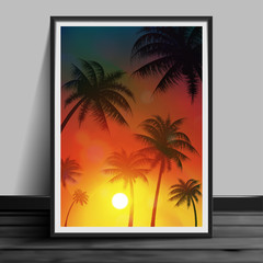 Stock vector illustration mockup mock up realistic picture template night billboard summer. Art for banners, flyers, placards and posters photoframes EPS10