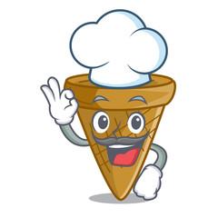 Chef cartoon ice cream wafer cone